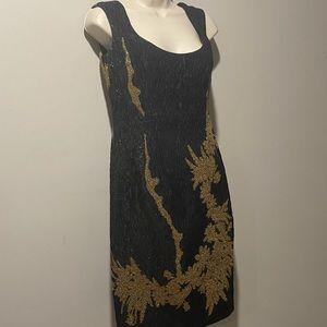 3/$150 Escada dress midi black gold metallic 34